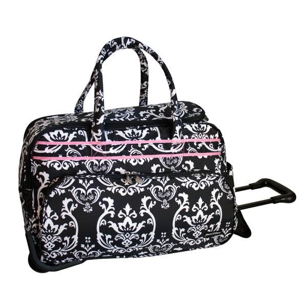 Jenni Chan Damask Black/Pink 20-inch Carry On Rolling Upright Soft Duffel Bag