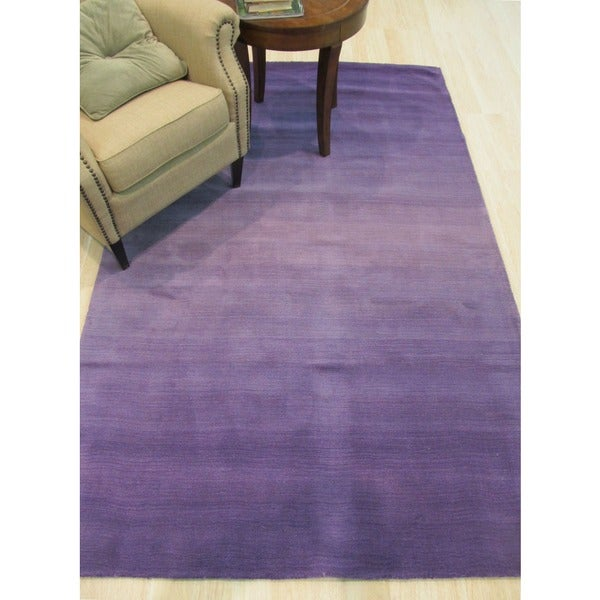 Hand-tufted Wool Purple Transitional Abstract Purple Horizon Rug