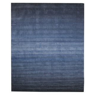 Hand-tufted Wool Blue Transitional Abstract Horizon Rug