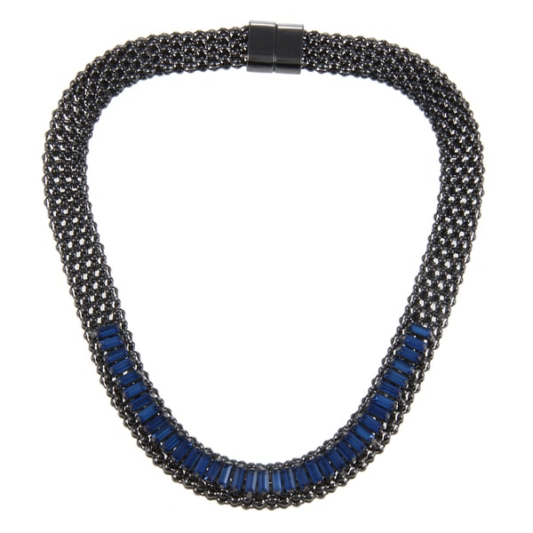 KC Signatures Black-plated Cobalt Blue Austrian Crystal Necklace