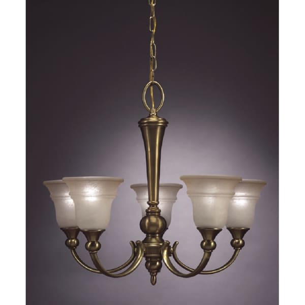 Transitional 5 light Chandelier in Antique Brass