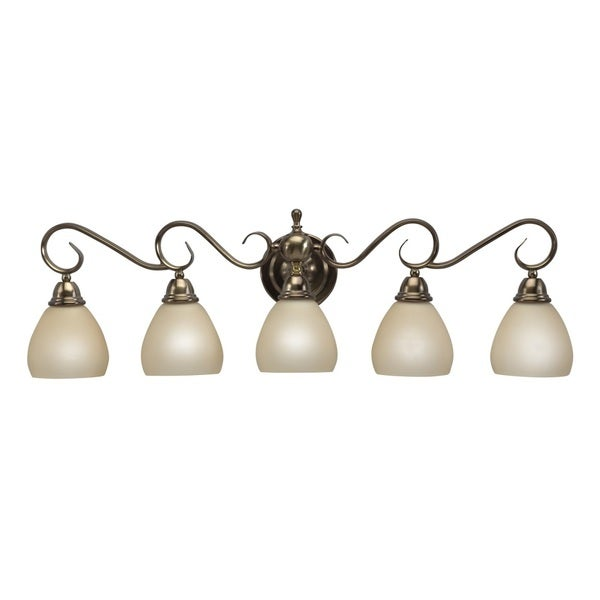 Transitional 5 light brushed bronze bath vanity free - Brushed bronze bathroom light fixtures ...