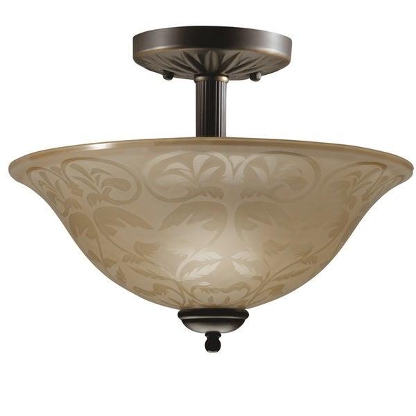 Transitional Olde Bronze 2-light Semi-flush Fixture