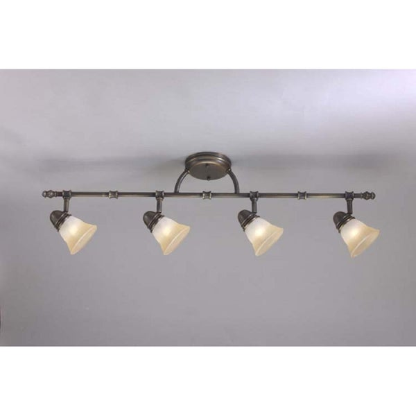 Transitional Antique Brass 4-light Rail/ Semi-flush Fixture