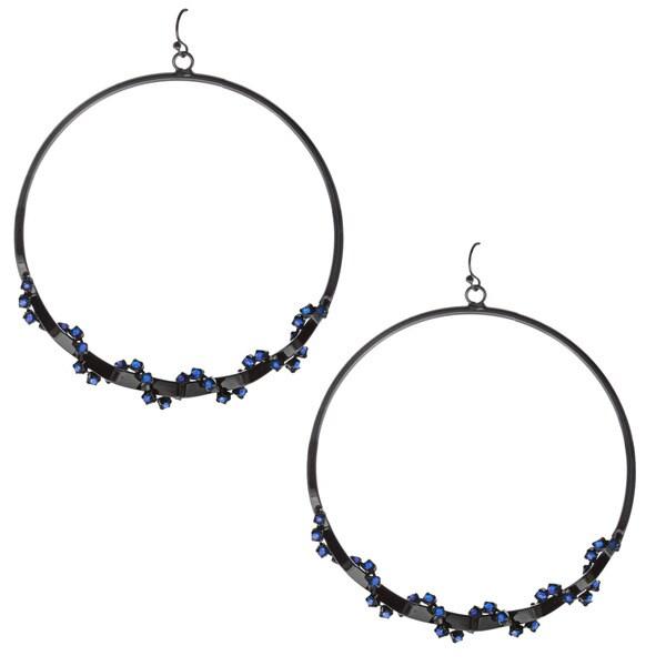 KC Signatures Black-plated Cobalt Blue Crystal Hoop Earrings