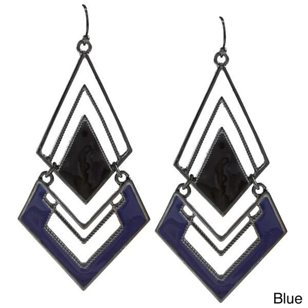 Black-plated Colored Enamel Diamond-shaped Link Earrings