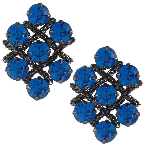Black-plated Cobalt Blue Austrian Crystal Cluster Earrings