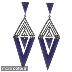 Black-plated Colored Enamel Aztec Design Earrings
