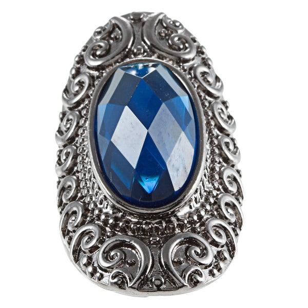 KC Signatures Silvertone Cobalt Blue Austrian Crystal Stretch Ring