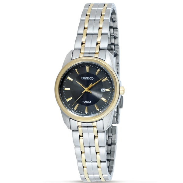Seiko Women's Charcoal-Dial Two-Tone Stainless-Steel Watch