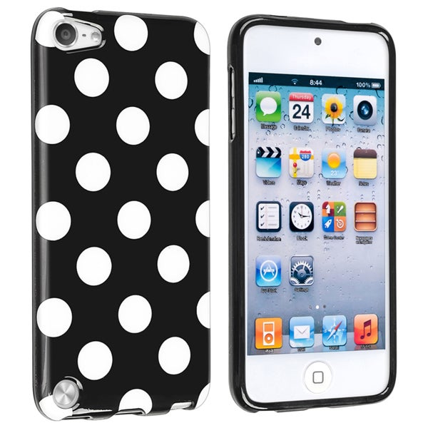Insten Black Polka Dots TPU Rubber Candy Skin Glossy Case Cover For Apple iPod Touch 5th/ 6th Gen