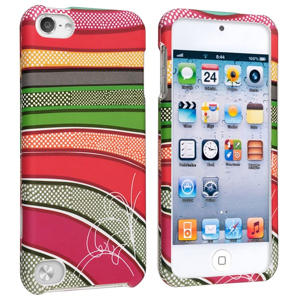 Insten Colorful Stripes Hard Snap-on Rubberized Matte Case Cover For Apple iPod Touch 5th/ 6th Gen