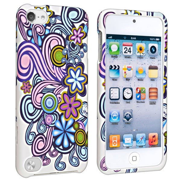 Insten Colorful Vine Flower Hard Snap-on Rubberized Matte Case Cover For Apple iPod Touch 5th/ 6th Gen