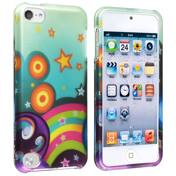 Insten Colorful Star Rainbow Hard Snap-on Rubberized Matte Case Cover For Apple iPod Touch 5th/ 6th Gen