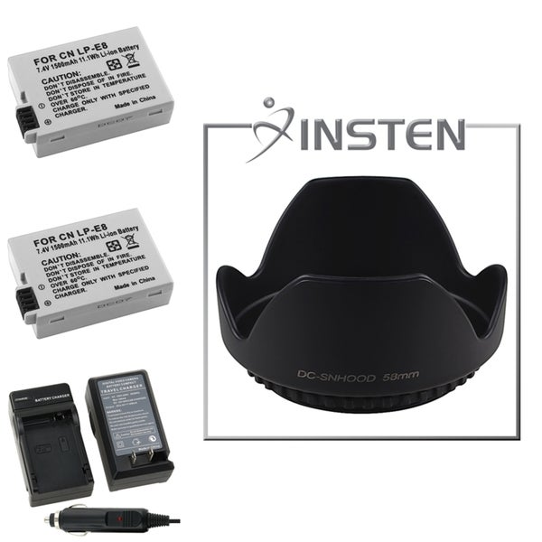 INSTEN Hood/ Battery/ Charger for Canon EOS 550D/ 600D/ Rebel T3i/ T2i