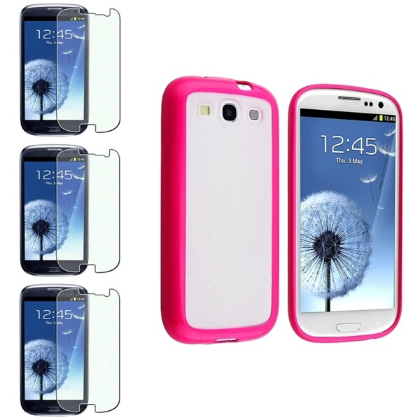 BasAcc Clear/ Pink TPU Case/ Protectors for Samsung Galaxy S III/ S3