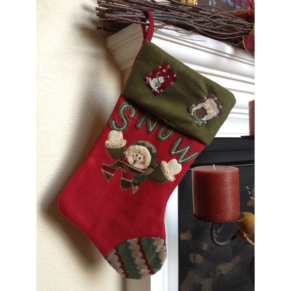 Cheering Snowman Christmas Stocking