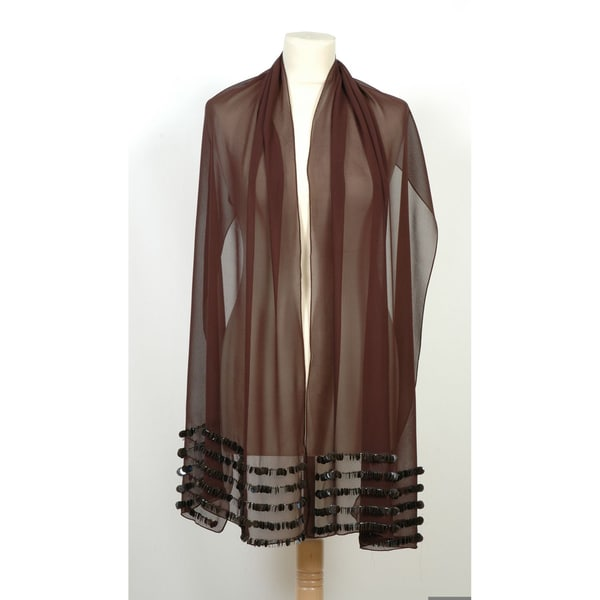 ac832ef9b Selection Privee Press 'Peggy' Sequined Sheer Brown Silk Shawl