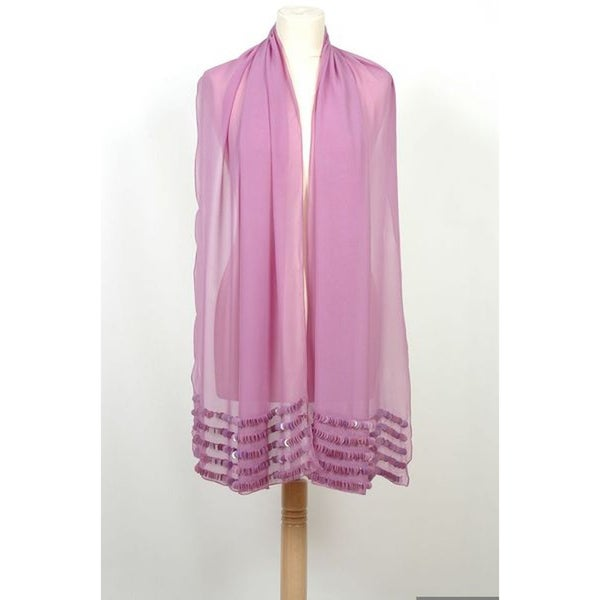 Selection Privee Paris 'Peggy' Sequined Sheer Purple Silk Shawl