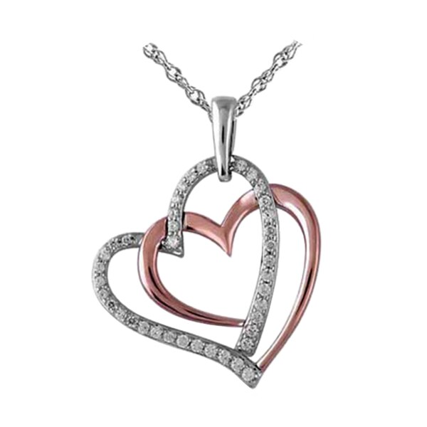 Bridal Symphony 10k Rose Gold over Silver 1/4ct TDW Diamond Heart Necklace (I-J, I3)
