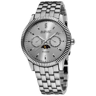 August Steiner Men's Swiss Quartz Multifunction Diamond Silver-Tone Bracelet Watch