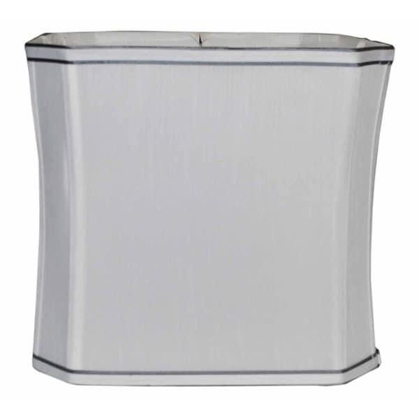 Square Cut Corner White Wash Silk Lampshade