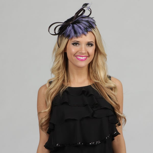 Swan Women's Black and Blue Feather Embellished Cocktail Fascinator