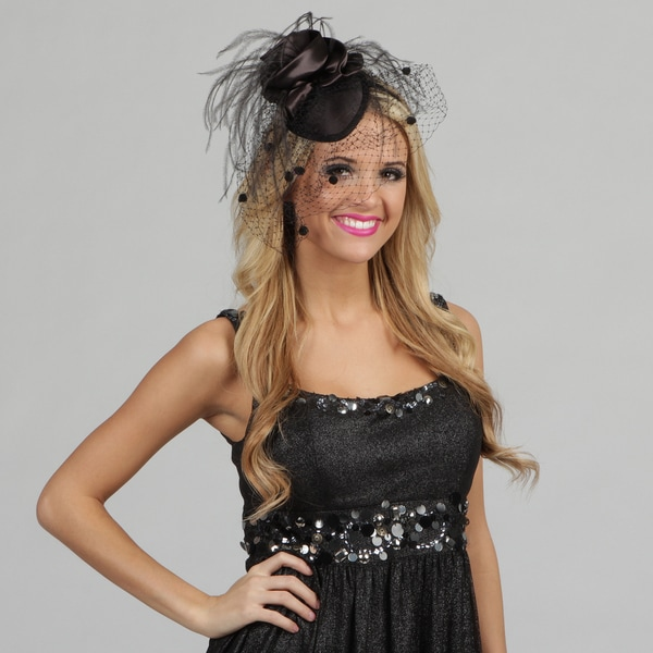 Swan Women's Black Veiled Pillbox Style Cocktail Fascinator