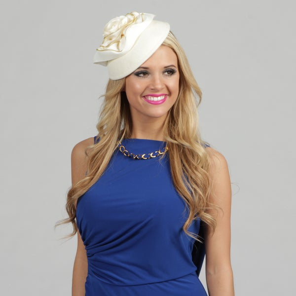 Swan Women's Winter White Zipper Edged Cocktail Fascinator