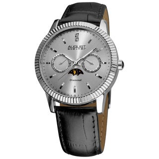 August Steiner Men's Swiss Quartz Multifunction Diamond Silver-Tone Strap Watch