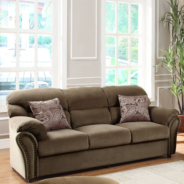 Fine Shop Evette Light Brown Microfiber Sofa With Two Pillows Pabps2019 Chair Design Images Pabps2019Com