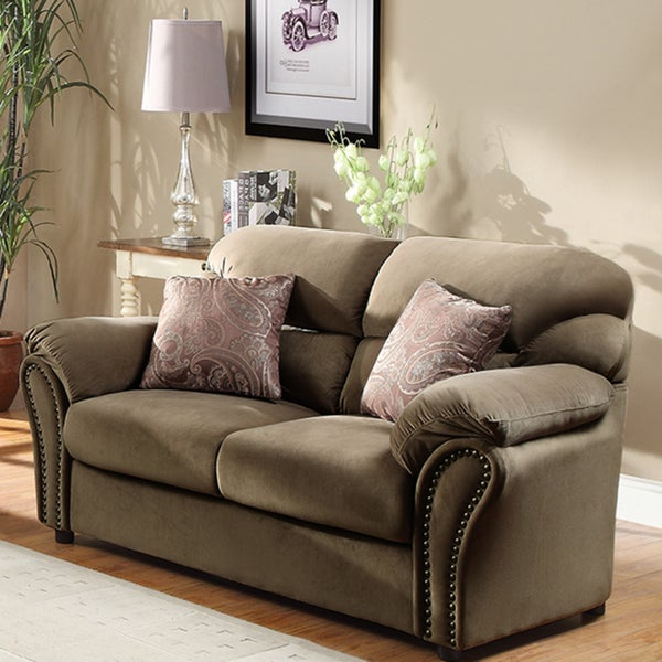 Evette Light Brown Microfiber Loveseat with Two Pillows