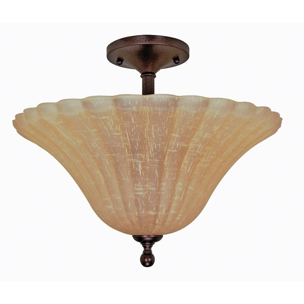 Nuvo 'Moulan' 3-light Energy Star Copper Bronze Semi-flush Fixture