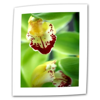 Kathy Yates 'Cymbidium Seafoam Emerald Orchid' Small Canvas Art - Multi