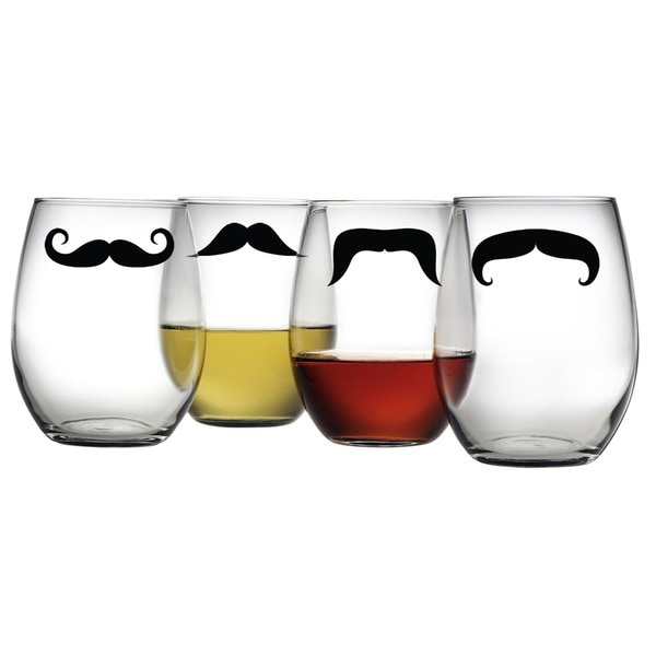 Moustache Stemless Wine Glasses (Set of 4)