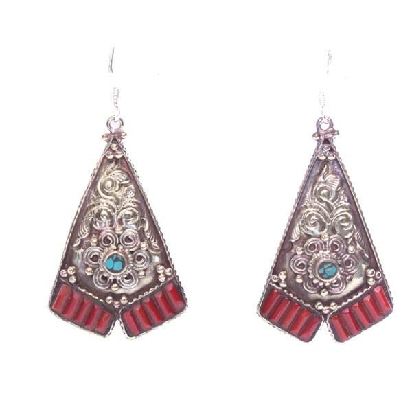 Brass Turquoise Coral Fan Earrings (Nepal)