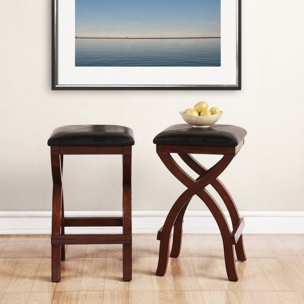 Jaidyn Espresso X Base 24 Inch Backless Counter Height Stool (Set Of 2