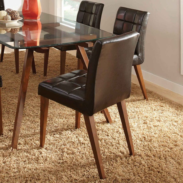 Alyn Dark Brown Retro Modern Tufted Dining Chair Set Of 2