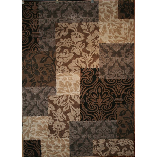 Vintage Damask Brown Rug (7'10 x 10'6)