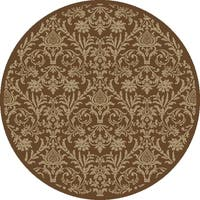 Damask Brown Rug (5'3 Round) - 5'3
