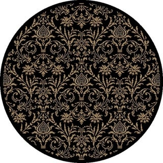 "Concord Global Jewel Damask Black Round Rug - 5'3"" x 5'3"" Round"