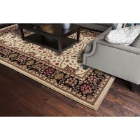 Transitional Oriental Voysey Ivory Area Rug - 5'3 x 7'7