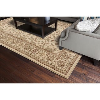 Transitional Oriental Voysey Ivory Area Rug (5'3 x 7'7)