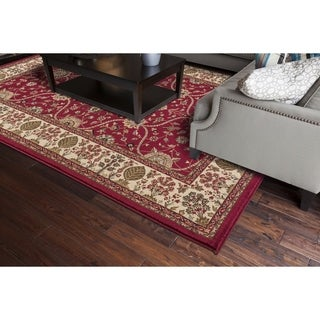 Transitional Oriental Voysey Red Area Rug (5'3 x 7'7)