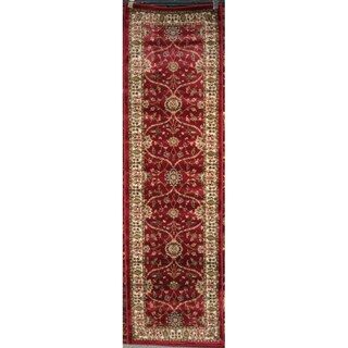 Transitional Oriental Voysey Red Runner (2'3 x 7'7)