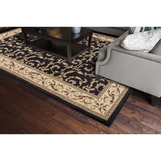 Machine -Made Juliette Collection Ivy Black Polypropylene Rug (5'3 x 7'7)