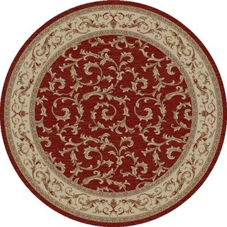 Machine -Made Juliette Collection Ivy Red Polypropylene Rug (5'3Round)