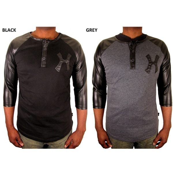 Hudson Outerwear Men's Cotton Leather Sleeve Henley