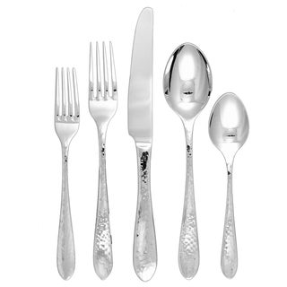 Ginkgo Starlight 42-piece Hammered Stainless Steel Flatware Set (Service for 8)
