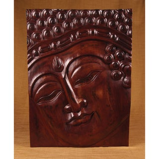 Rectangle Teak Wood Band Buddha Panel (India)